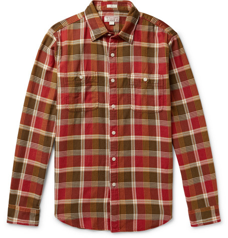 J.Crew - Wallace & Barnes Slim-Fit Checked Cotton-Flannel Shirt - Men - Red