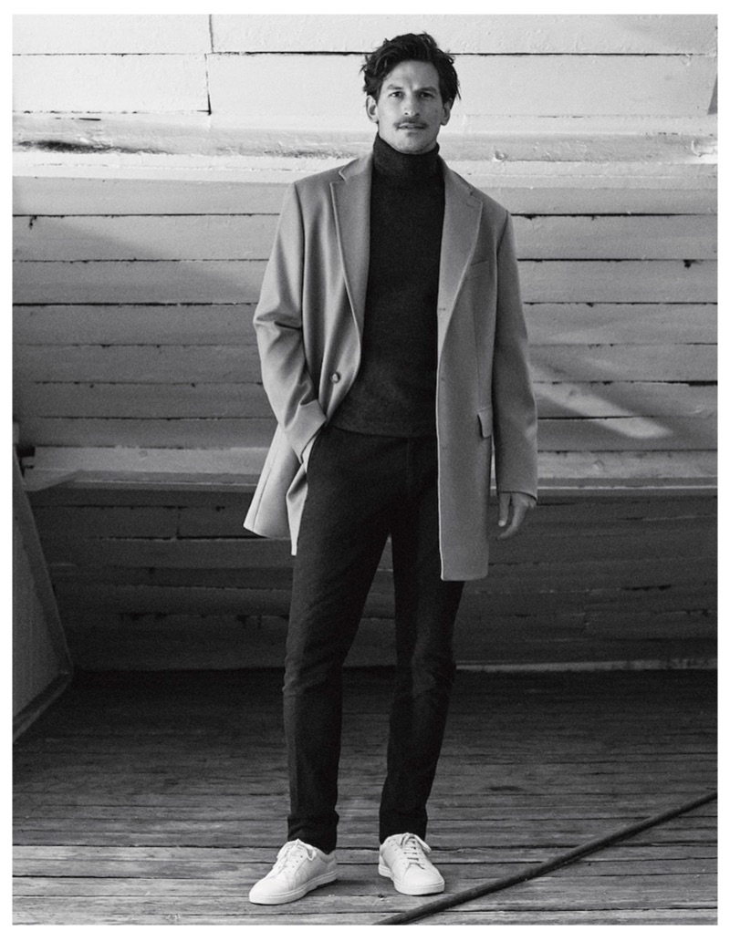 Front and center, Jarrod Scott dons a classic menswear look from Massimo Dutti.