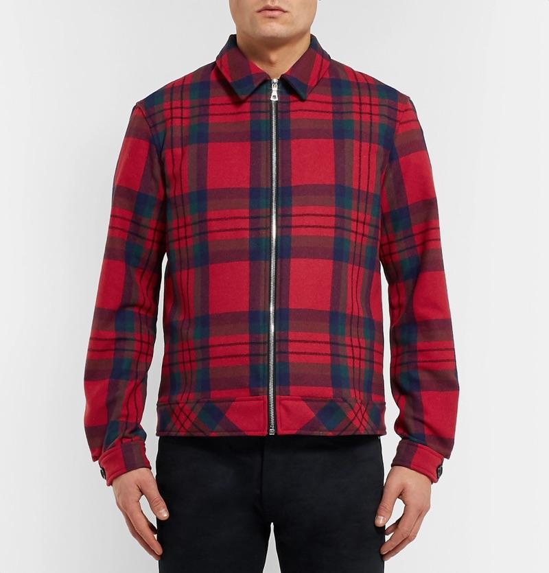 John Elliott Checked Wool-Blend Blouson Jacket