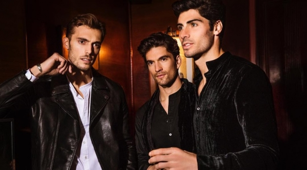 Federico Cola, David Sanz, and Brandon Goss sport leather and velvet looks from John Varvatos.