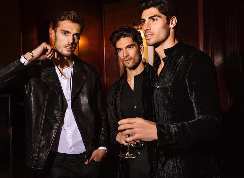 Federico Cola, David Sanz, and Brandon Goss sport leather and velvet looks from John Varvatos.