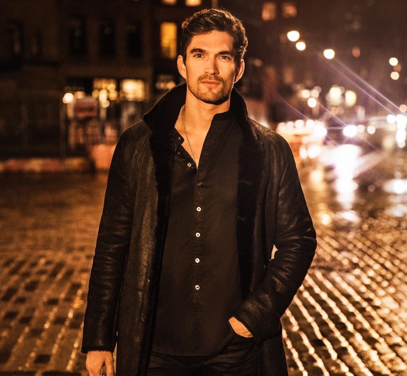 David Sanz steps out in John Varvatos for the holidays.