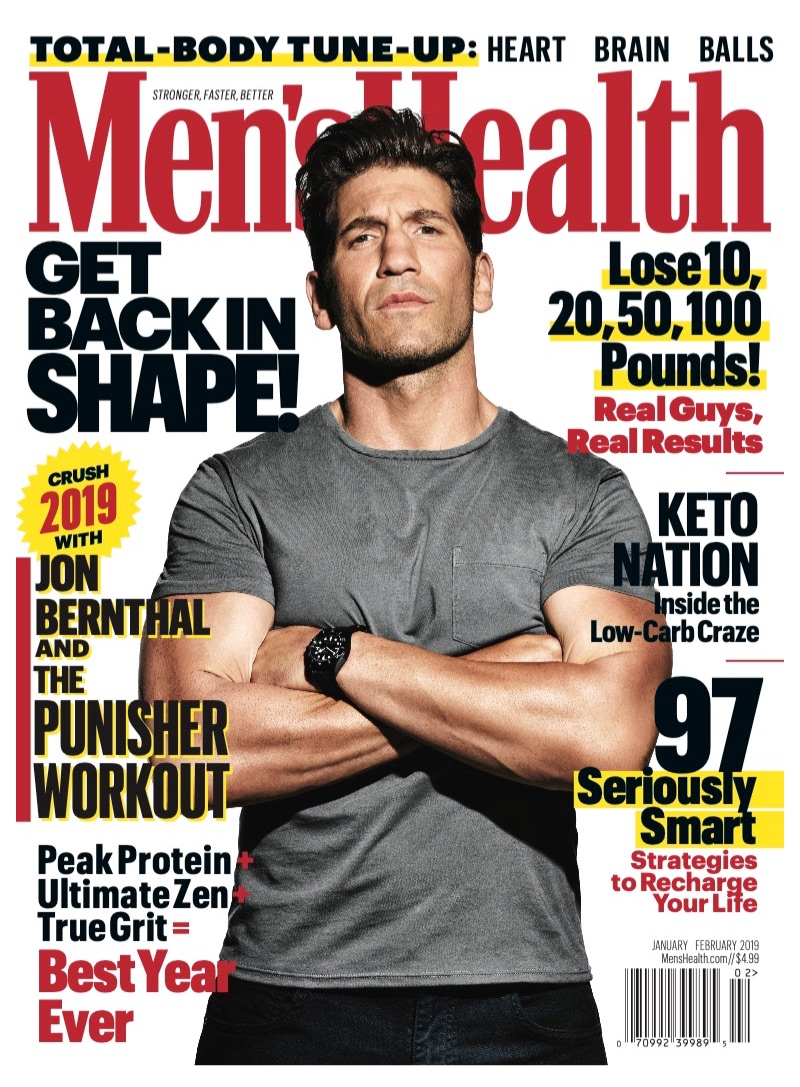 Jon Bernthal covers the January/February 2019 issue of Men's Health.