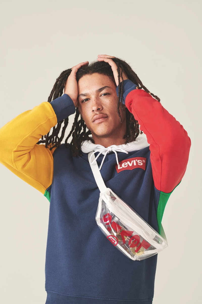 James Magee rocks a color blocked hoodie from Levi's Red Tab's spring-summer 2019 collection.
