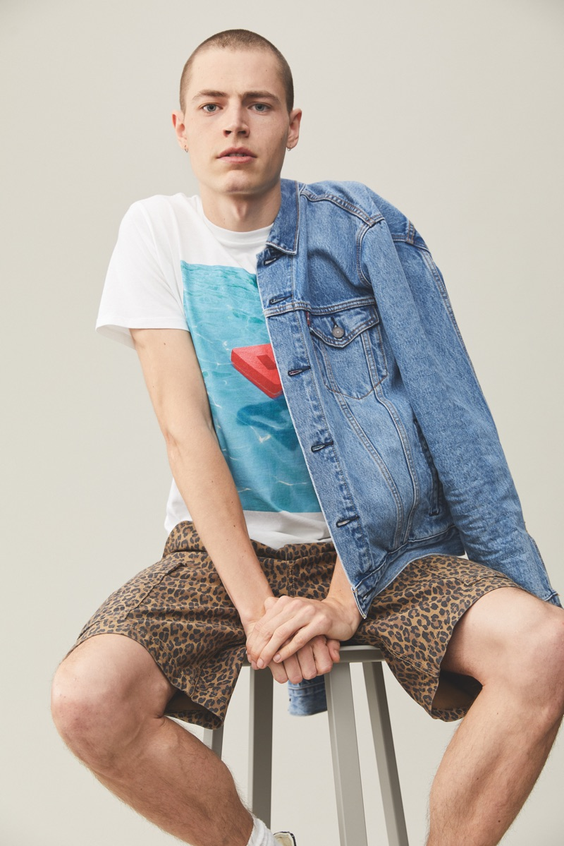 Front and center, Jonas Klock sports casual fashions from Levi's Red Tab.