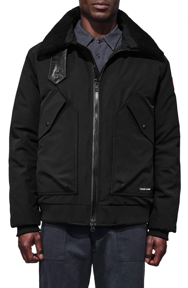 Men's Canada Goose Bromley Slim Fit Down Bomber Jacket With Genuine Shearling Collar, Size X-Small - Black