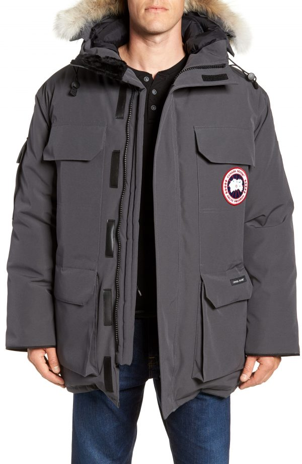 Men's Canada Goose Pbi Expedition Regular Fit Down Parka With Genuine Coyote Fur Trim, Size X-Large - Grey