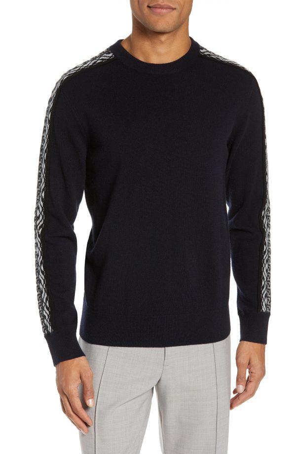Men's Club Monaco Fair Isle Sleeve Crewneck Wool Sweater, Size Small - Blue