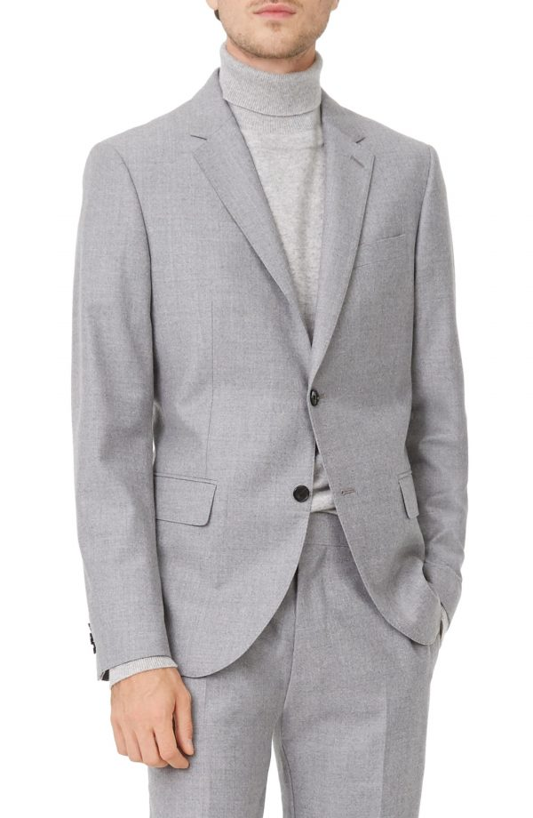 Men's Club Monaco Grant Trim Fit Wool Blazer, Size 36 R - Grey