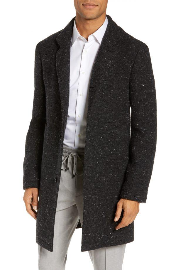 Men's Club Monaco Loukas Nep Flecked Topcoat, Size 38 - Grey