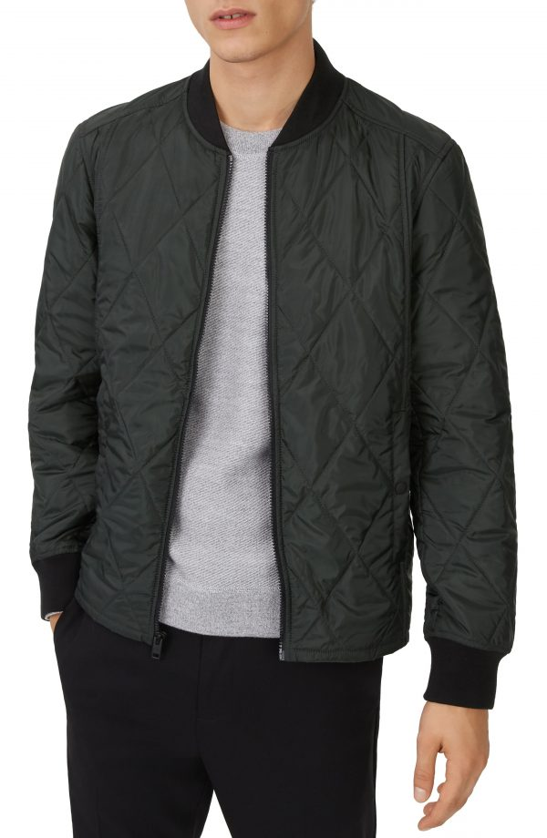 Men's Club Monaco Quilted Jacket, Size Small - Green
