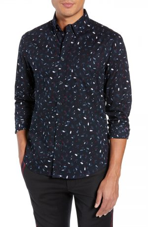 Men's Club Monaco Trim Fit Print Sport Shirt, Size XX-Large - Black