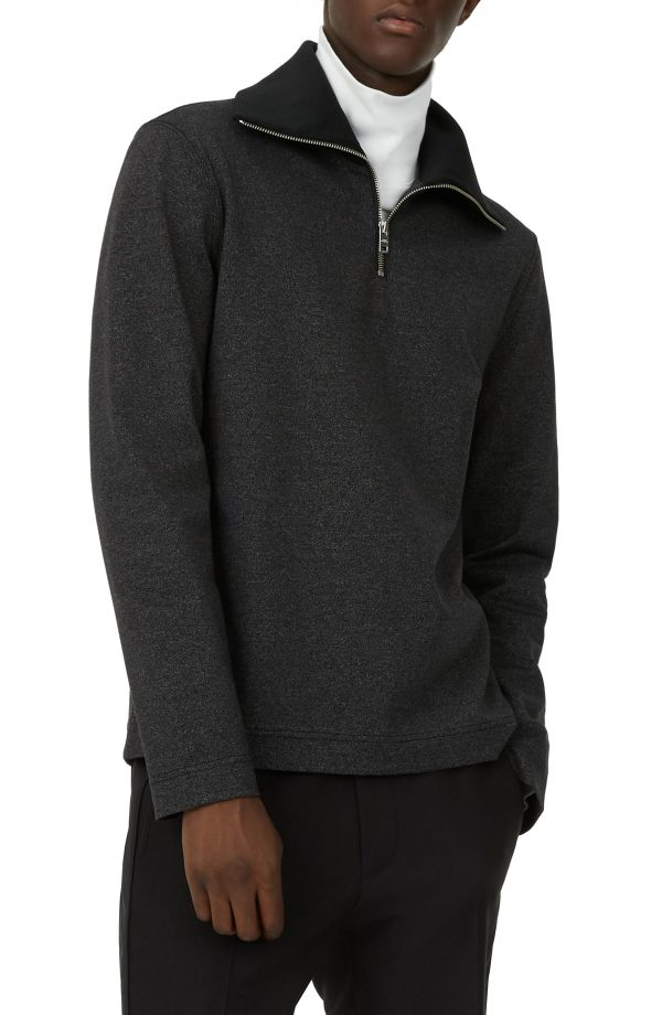 Men's Club Monaco Trim Fit Quarter Zip Pullover, Size Small - Grey