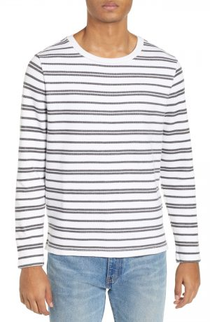 Men's Club Monaco Trim Fit Variegated Stripe Crewneck Sweater, Size X-Large - White