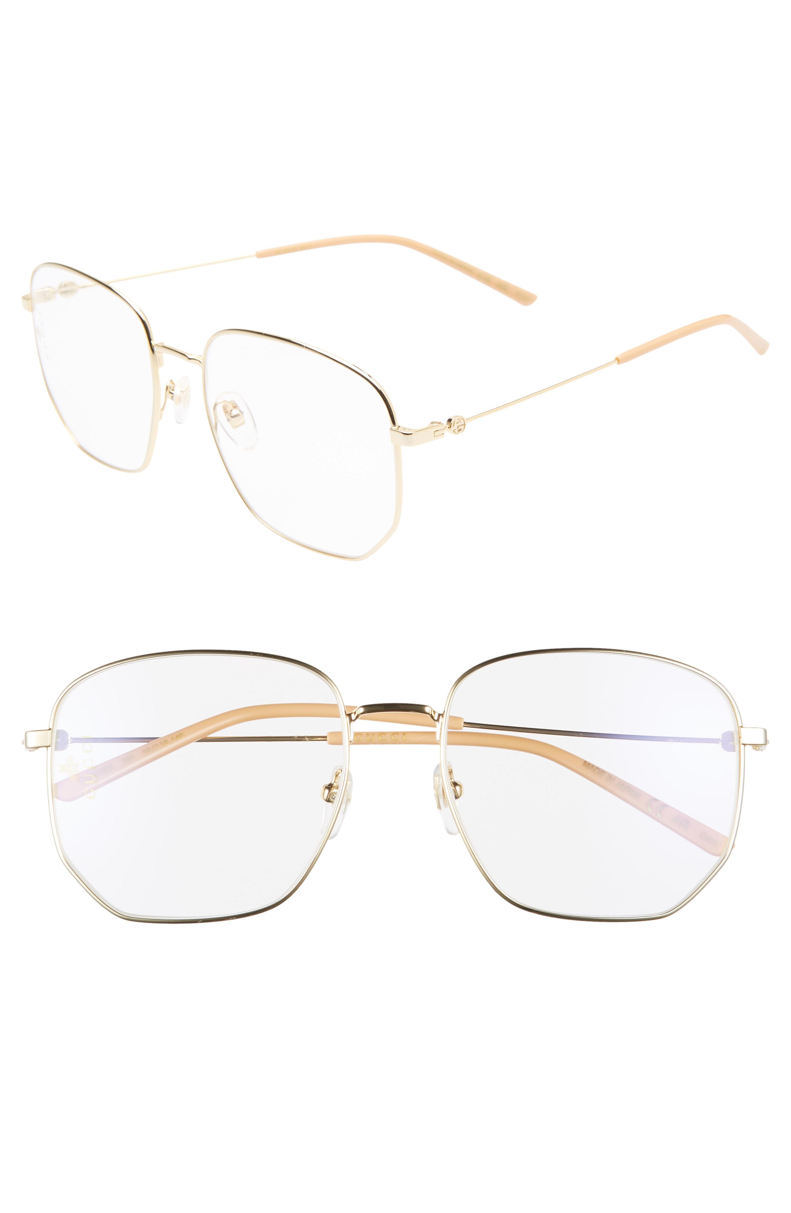 c83a32f205e Men s Gucci 56Mm Pilot Sunglasses – Gold  Clear