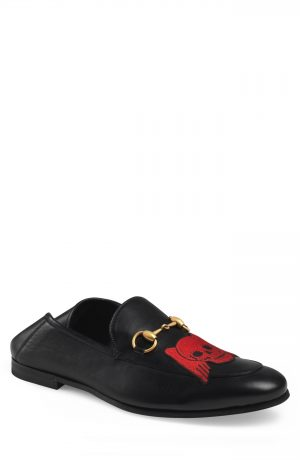 Men's Gucci Brixton Embroidered Loafer, Size 8US / 7UK - Black