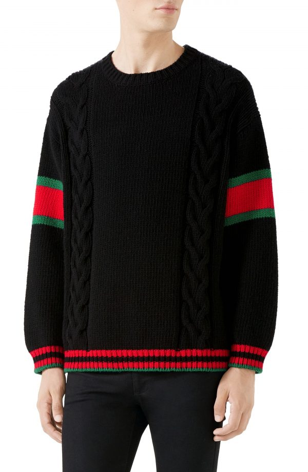 Men's Gucci Cable Knit Wool Crewneck Sweater, Size Small - Black