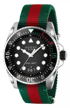 Men's Gucci Dive Nylon Strap Watch, 45Mm