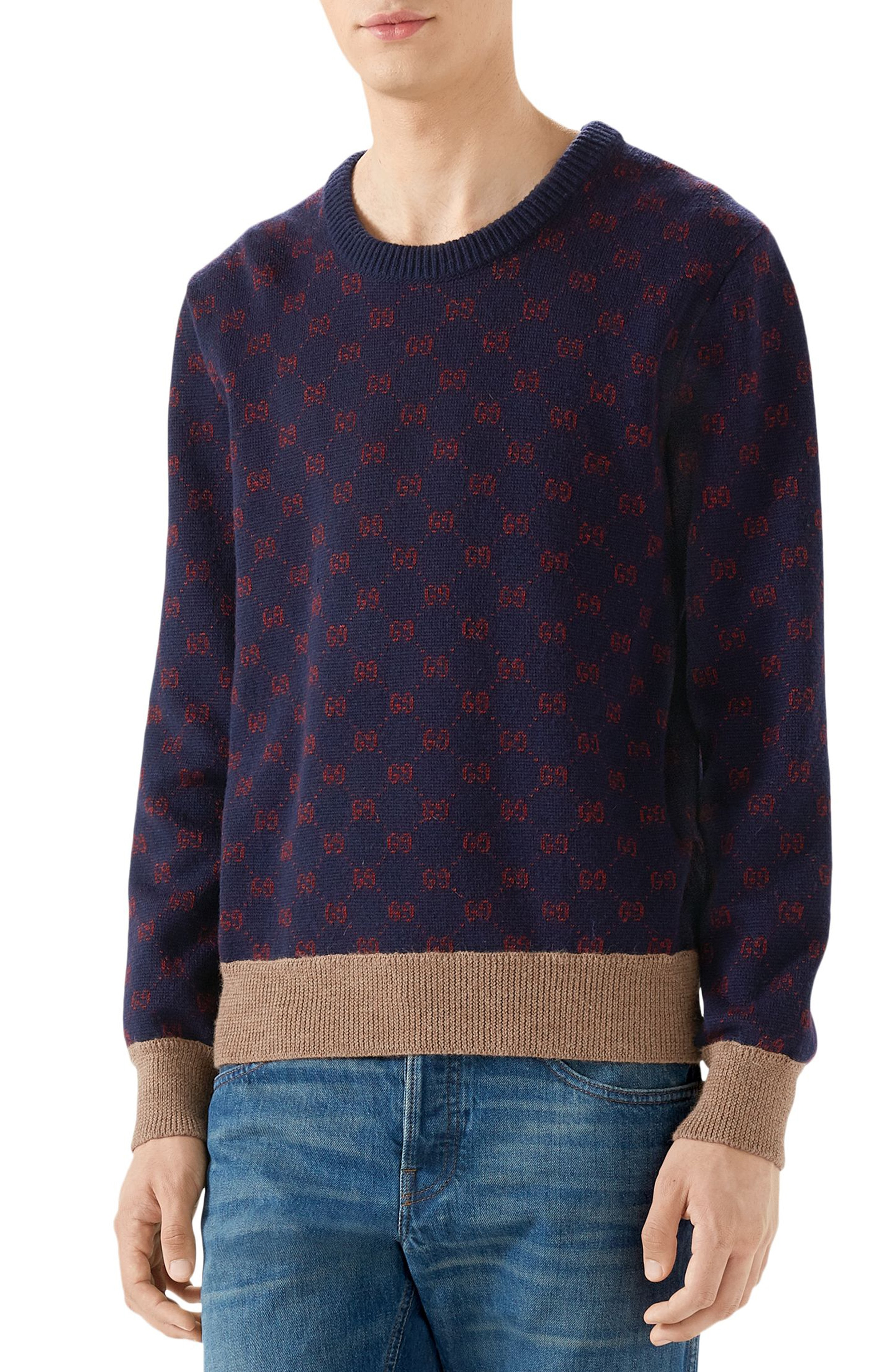 f018e752a9f1 Men s Gucci Gg Wool Sweater