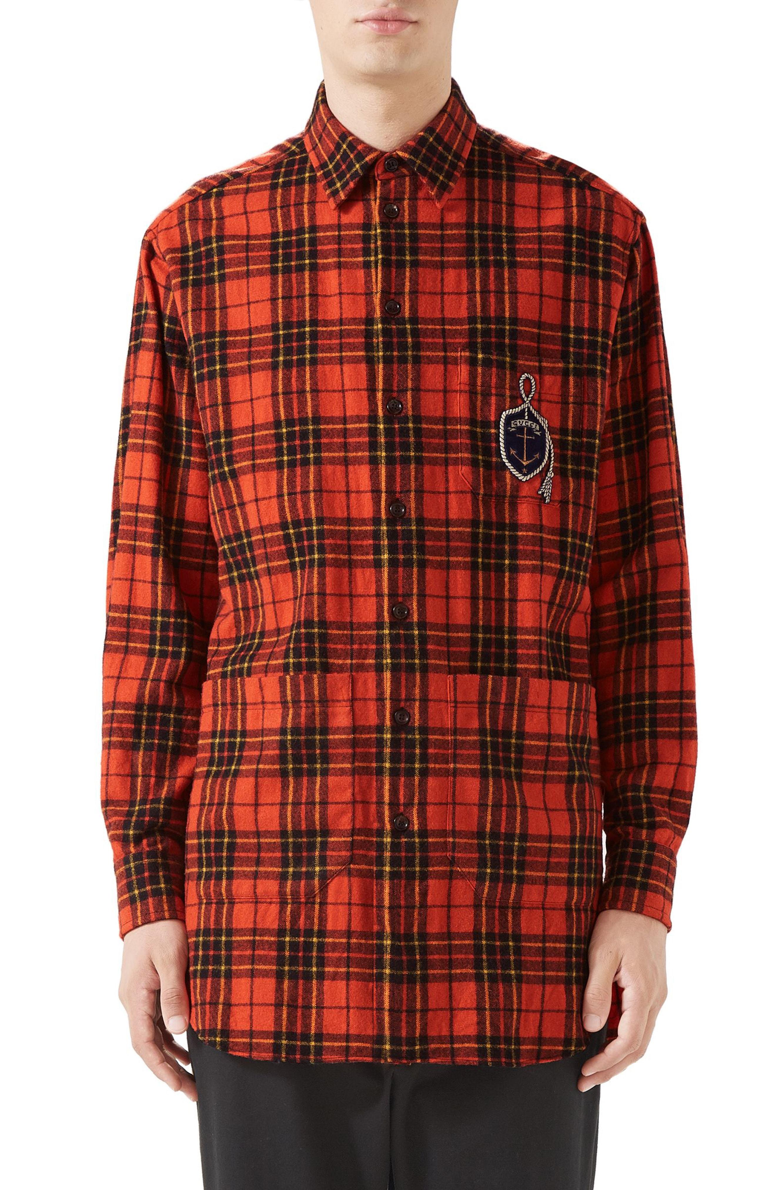 b2b34cc4 Men's Gucci Plaid Flannel Long Sport Shirt, Size 46 EU – Orange ...
