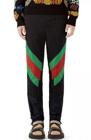 Men's Gucci Stripe Track Pants, Size Small - Black