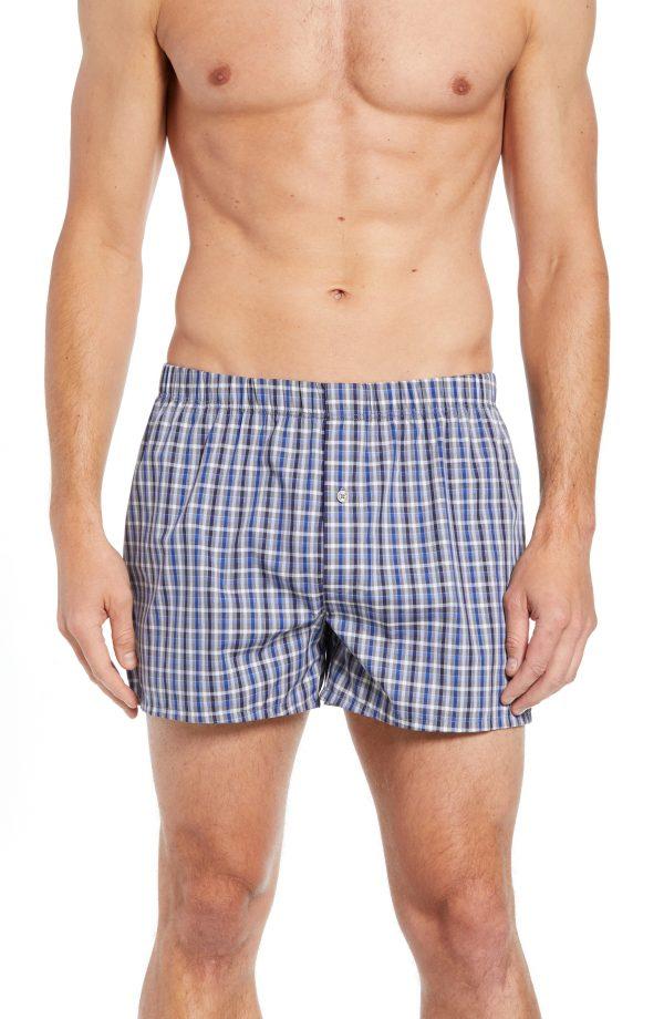 Men's Hanro Fancy Cotton Boxers, Size Medium - Blue