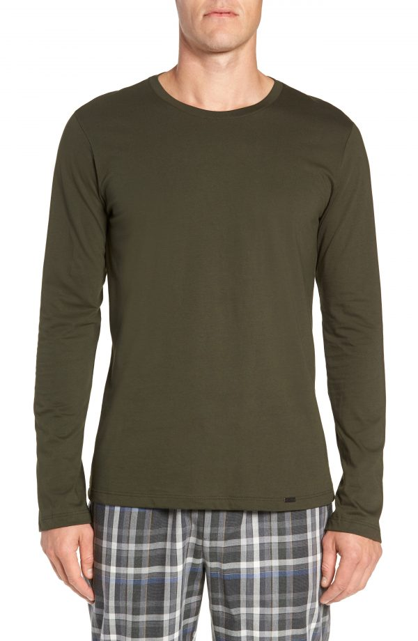 Men's Hanro Living Long Sleeve T-Shirt, Size Small - Green