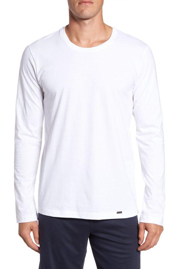 Men's Hanro Living Long Sleeve T-Shirt, Size Small - White