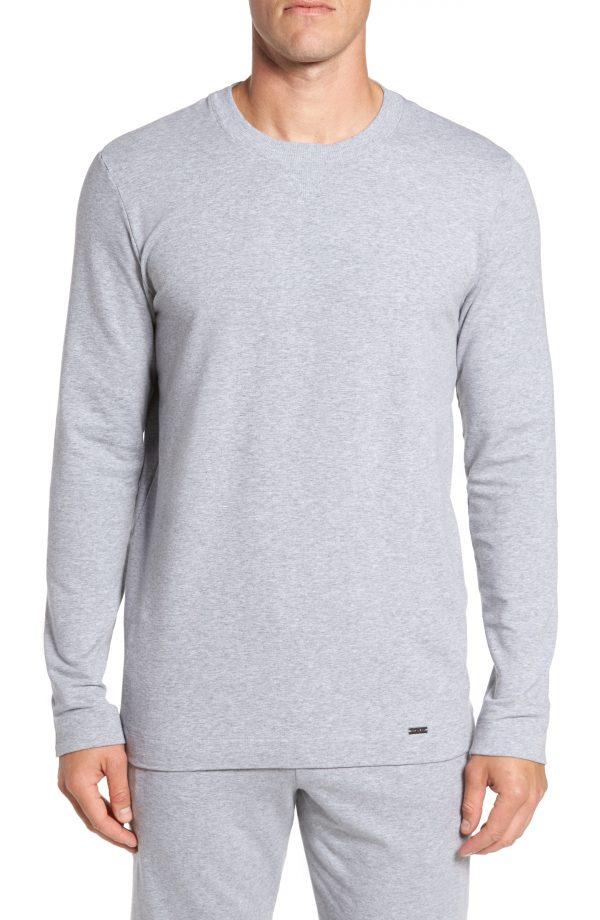 Men's Hanro Living Pullover, Size Small - Grey
