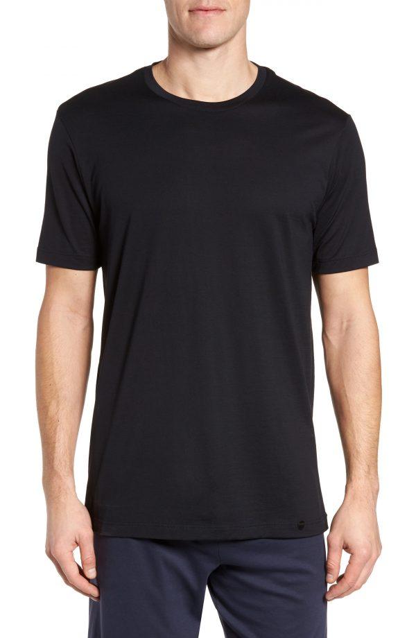 Men's Hanro Night & Day Crewneck T-Shirt, Size Medium - Black