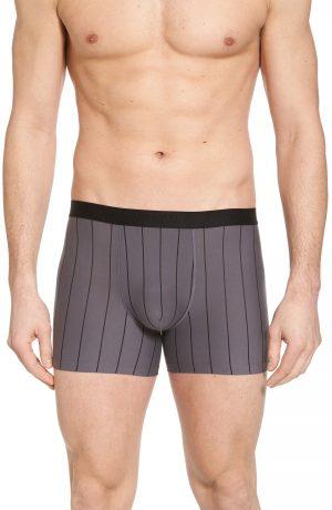 Men's Hanro Shadow Cotton Blend Boxer Briefs, Size Medium - Black