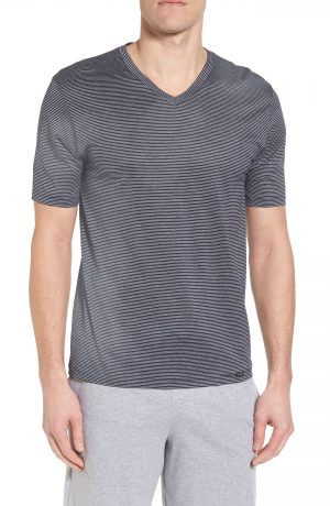 Men's Hanro Sporty Stripe Cotton V-Neck T-Shirt, Size Small - Blue