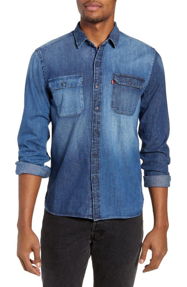 Men's Levi's Jackson Pieced Denim Shirt, Size Large - Blue