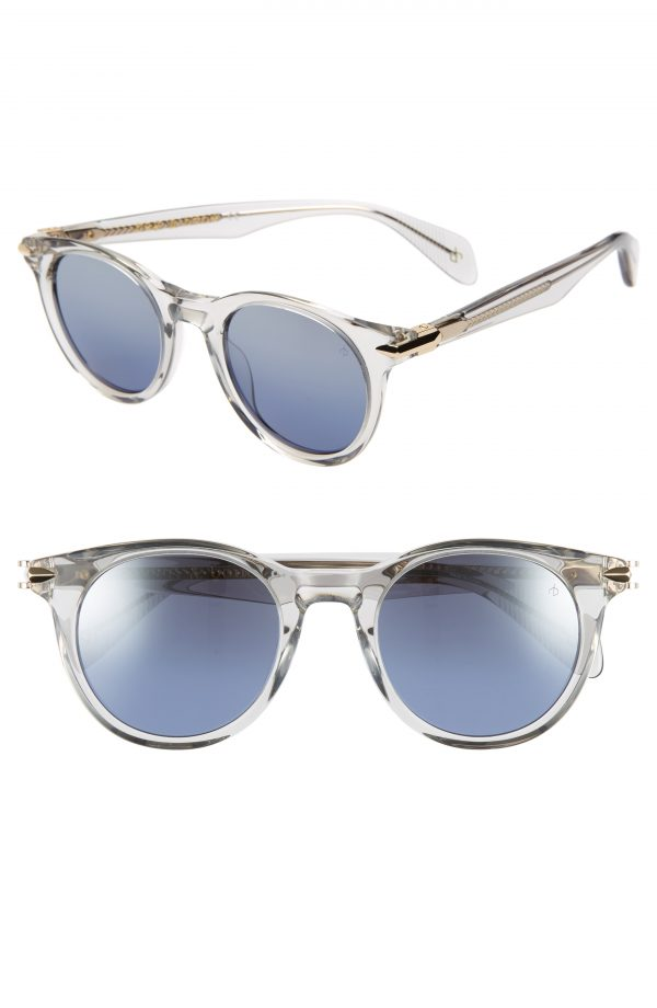 Men's Rag & Bone 49Mm Gradient Round Sunglasses - Grey