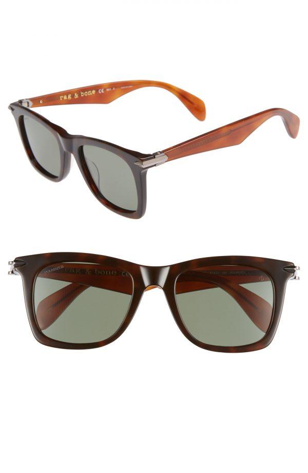 Men's Rag & Bone 51Mm Polarized Sunglasses - Dark Havana