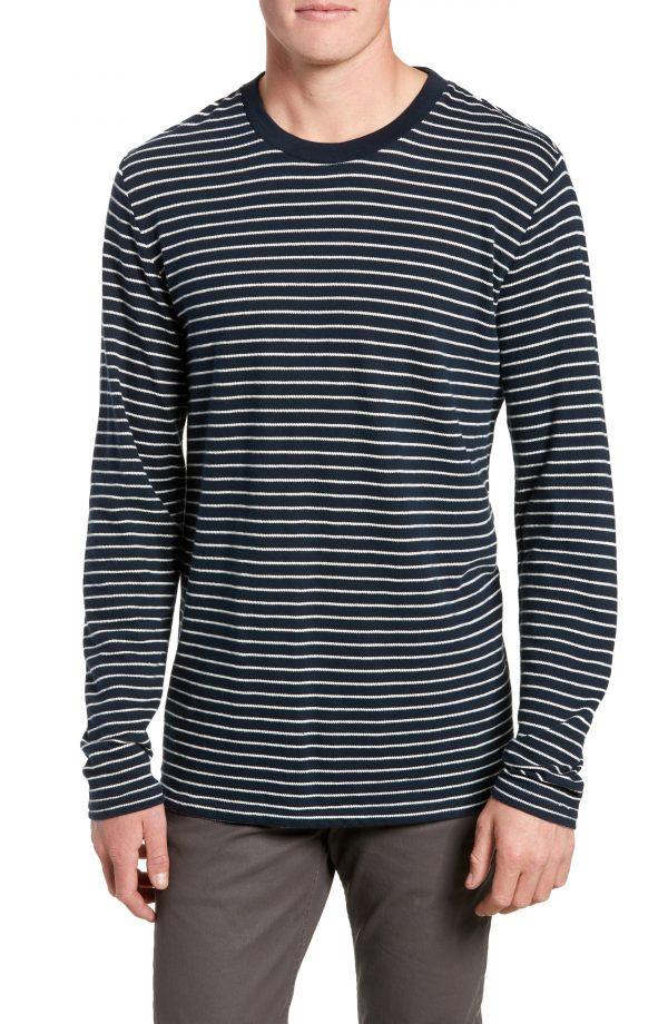 Men's Rag & Bone Railroad Stripe Long Sleeve T-Shirt, Size Small - Blue