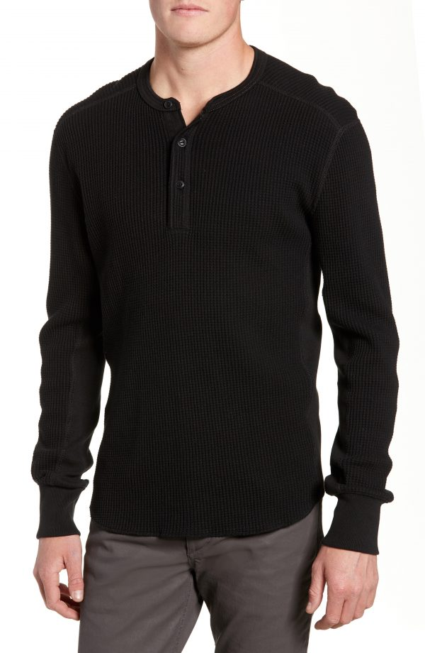 Men's Rag & Bone Waffle Knit Long Sleeve Henley, Size Small - Black