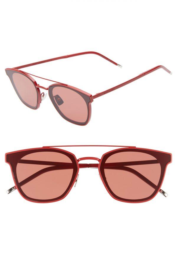 Men's Saint Laurent 61Mm Square Sunglasses - Red