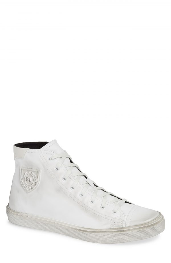 Men's Saint Laurent Bedford High Top Sneaker, Size 6US / 39EU - White