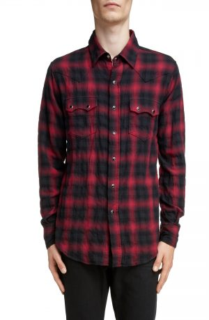 Men's Saint Laurent Classic Fit Check Western Shirt, Size Small - Black