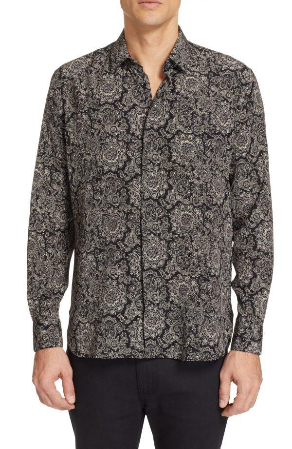 Men's Saint Laurent Couer Pattern Silk Shirt, Size 38 EU - Black
