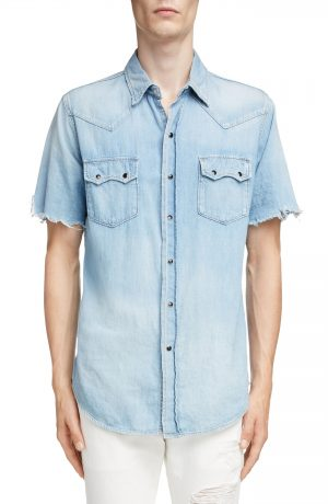 Men's Saint Laurent Distressed Western Denim Shirt, Size Small - Blue