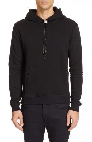 Men's Saint Laurent Molleton Bolo Hoodie, Size Medium - Black