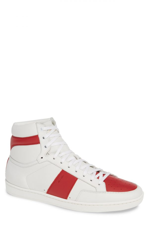 Men's Saint Laurent Sl/10H Signature Court Classic High-Top Sneaker, Size 6US / 39EU - White