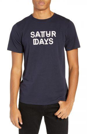 Men's Saturdays Nyc Deco Neue Logo T-Shirt, Size Small - Blue