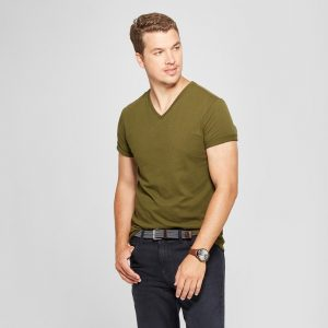 Men's Slim Fit Short Sleeve V-Neck T-Shirt - Goodfellow & Co Military Green S