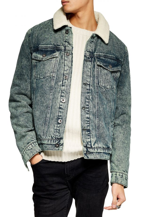 Men's Topman Acid Wash Faux Shearling Denim Jacket, Size X-Large - Blue