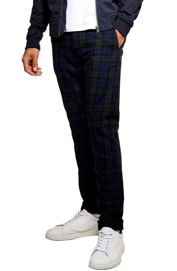Men's Topman Check Print Skinny Trousers, Size 30 x 32 - Blue