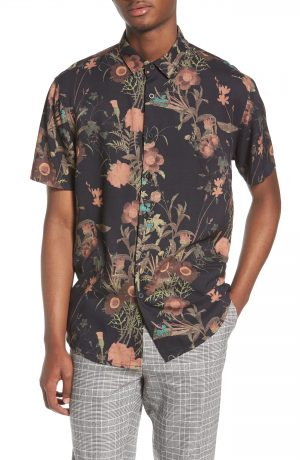 Men's Topman Floral Print Shirt, Size XX-Large - Black