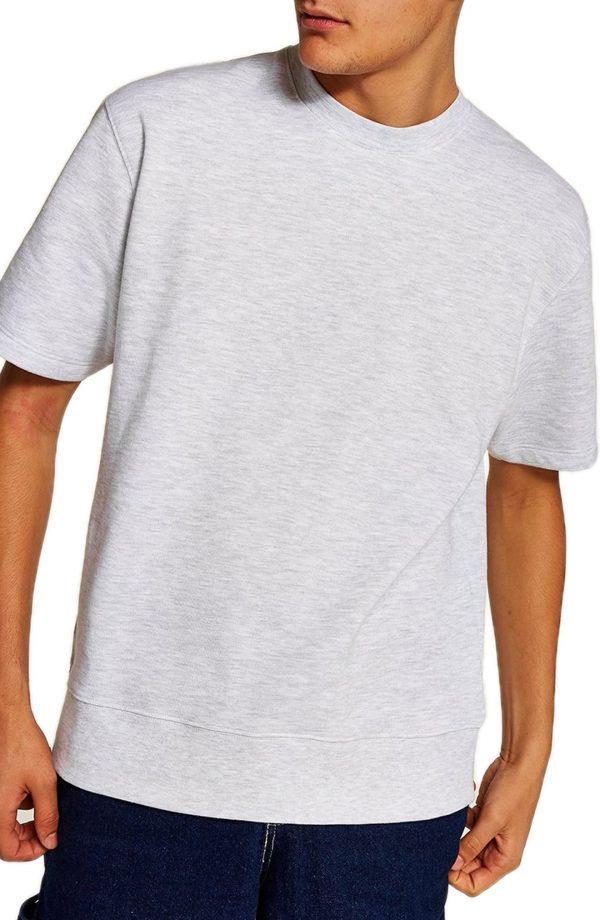 Men's Topman Short Sleeve Crewneck Sweatshirt, Size Large - Grey